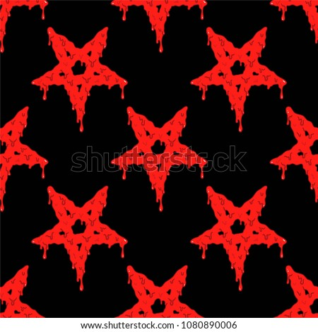 Cartoon seamless pattern with bloody pentagram symbol on black background. Occult vector illustration.