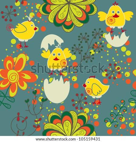 cartoon seamless pattern with chicken,egg,flower