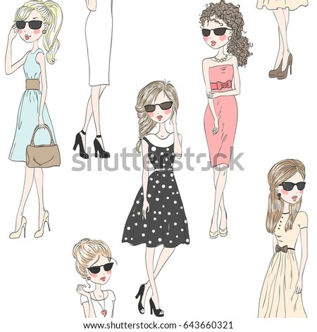 Cartoon seamless pattern with fashion cute girls. Vector illustration.