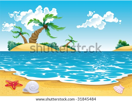 Cartoon seascape. Vector illustration, isolated objects