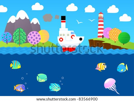 Cartoon seascape with steamship