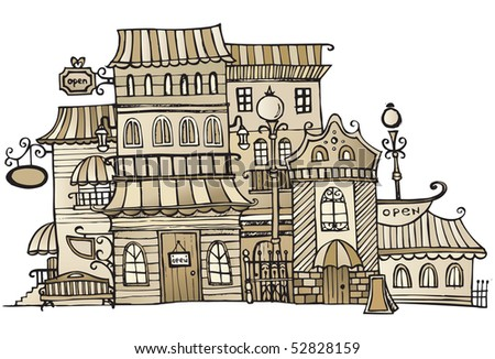 cartoon sepia vector drawing town - stock vector