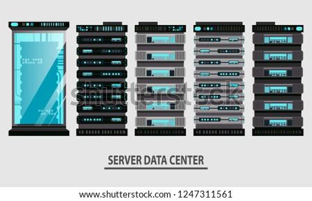 Cartoon server data racks icon set in flat style. Equipment for server farm databases. Vector illustration cloud infrastructure concept