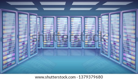 cartoon server room with cabinets with servers, vector illustration