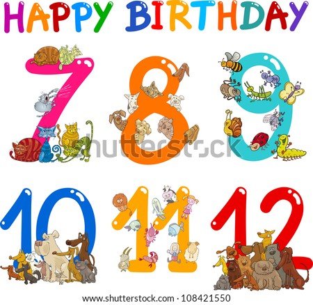 Cartoon Set Illustration of Birthday Anniversary Numbers with Funny Animals or Insects