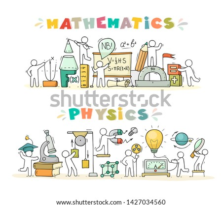 Cartoon set - Math and Physics subjects with little people and education symbols. Doodle cute miniature scene of workers with books, rocket. Hand drawn vector illustration for science design.