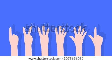 cartoon set of counting hands. concept of counting arm gesture group for child schooling or body language. flat simple style trend modern graphic art design with shadow isolated on blue background