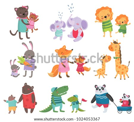 cartoon set of cute animal
