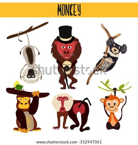 cartoon set of cute animals
