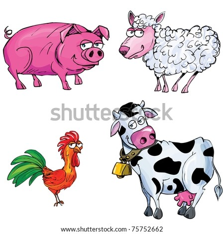 Cartoon set of farm animals isolated on white