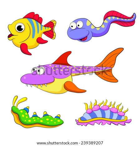 cartoon set of funny fishes and