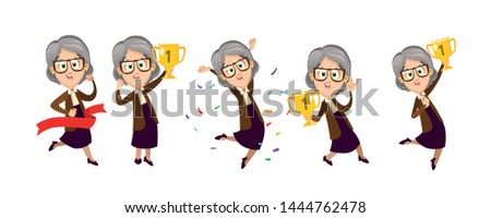 Cartoon set of grannies jumping for joy with prize gold cups. Senior woman crosses finishing tape. Concept of pensioner competition, come first, be winner, active lifestyle. Vector isolated on white.
