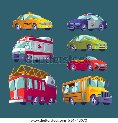 Cartoon set of isolated icons of urban transport. Fire truck, ambulance, police car, school bus, taxi, private cars.