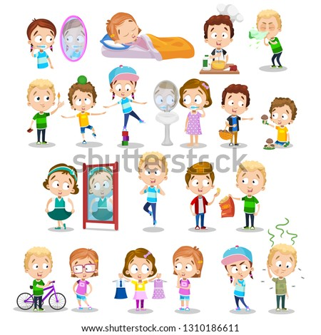 Cartoon set of little toddlers enjoying activities. Smiling and cheerful preschoolers vector illustration. Childhood and fun concept. Isolated on white background