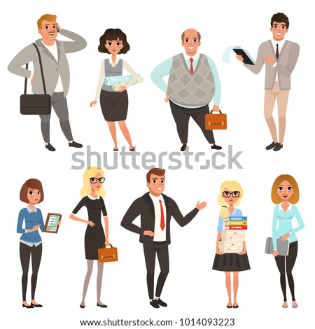 Cartoon set of office managers and workers in different situations. Business people. Men and women characters in casual clothes. Colorful flat vector design