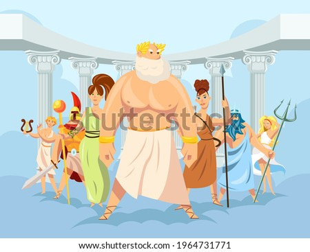 Cartoon set of Olympian Greek gods vector illustration. Ancient mythology heroes, Greek deities wearing traditional robes with symbols and Pantheon in background. Mythology, Greece, polytheism concept