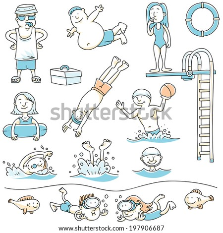 cartoon set of people swimming