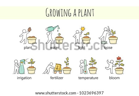 Cartoon set of sketch little people growing plant. Doodle cute collection about gardening. Vector illustrations  with flower in different stages.
