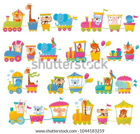 Cartoon set with different animals on trains. Fox, giraffe, monkey, elephant, koala, bunny, tiger, behemoth, parrot. Flat vector elements for postcard, book or print