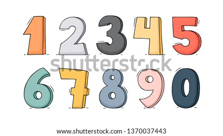 Cartoon set with different numbers. Doodle illustration about school and mathematics.