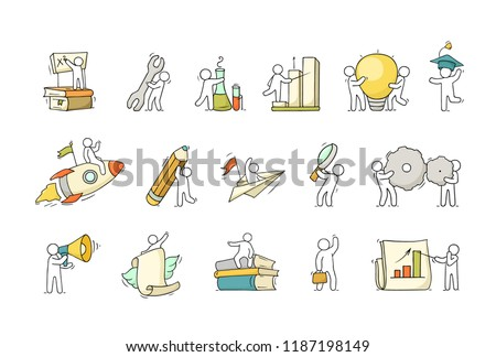 Cartoon set with little people and education symbols. Doodle cute miniature scene of workers with books, rocket. Hand drawn vector illustration for science design.