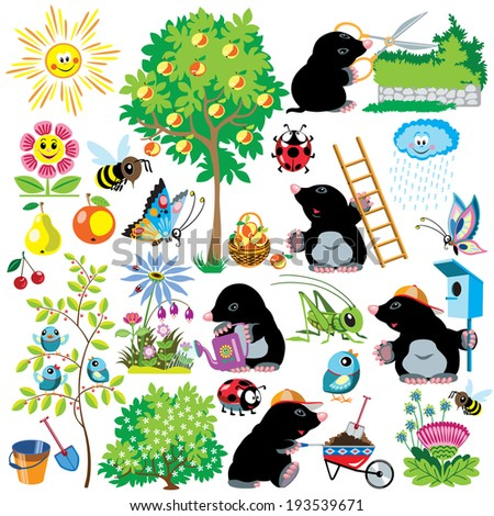 cartoon set with mole working in a garden gardening collection for little kids images isolated on white