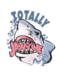 cartoon shark illustration biting jaw some slogan
