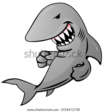cartoon shark jumping out of