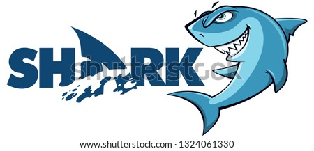 Cartoon Shark logo and mascot isolated on white background - Vector Foto d'archivio ©
