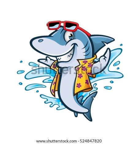cartoon shark with beachwear