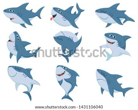 Cartoon sharks. Comic shark animals, scary jaws and ocean swimming angry sharks. Marine predator fish mascot or big sea sharks creatures character. Vector illustration isolated icons set