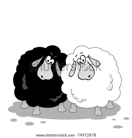 cartoon sheep black and white