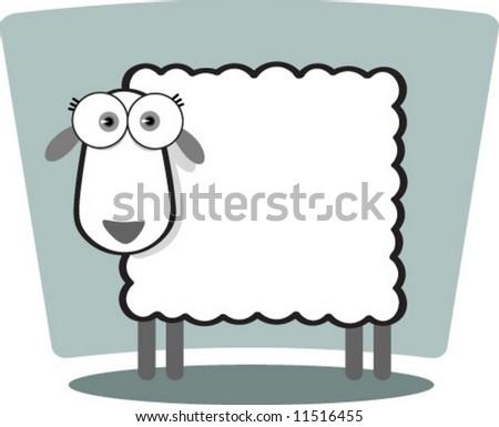 Cartoon Sheep in Black and White