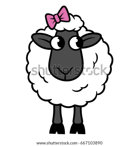 cartoon sheep with bow vector