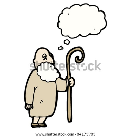 cartoon shepherd man with thought bubble