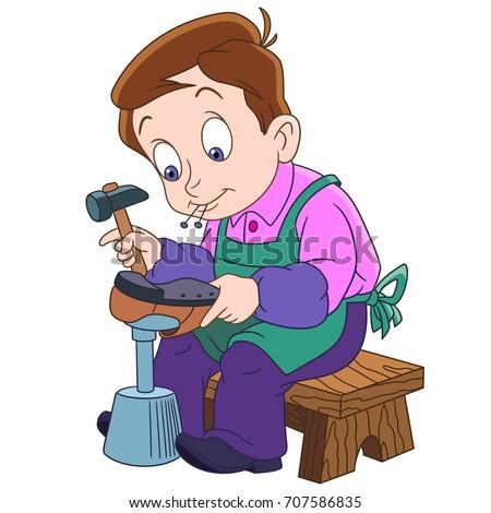 cartoon shoemaker  cobbler