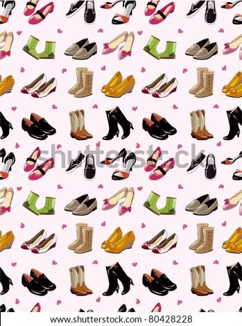 cartoon shoes set seamless pattern #80428228
