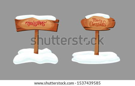 Cartoon signboards or wood planks of different colors and textures with snow. Merry Christmas hand lettering text. Set of old, retro banners. Vector illustration.
