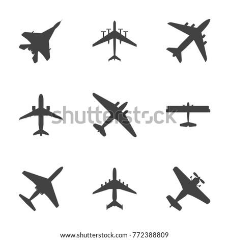 Cartoon Silhouette Black Airplane Set Different Types Travel Concept Element Flat Design Style. Vector illustration of Jet or Plane