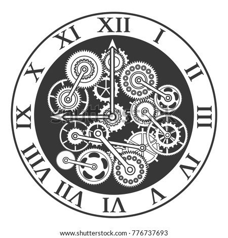 Cartoon Silhouette Black Clock Mechanism Concept Web Element Flat Design Style. Vector illustration of Mechanical Watch and Gear.