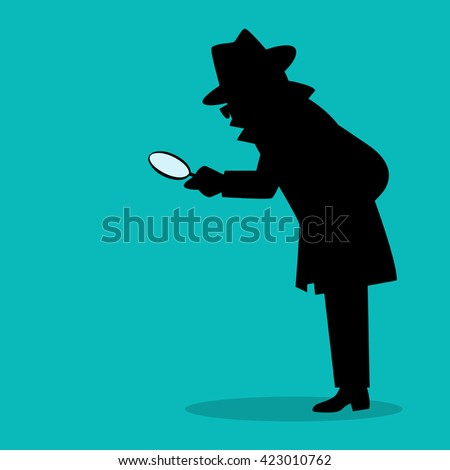 Cartoon silhouette of a detective with magnifying glass
