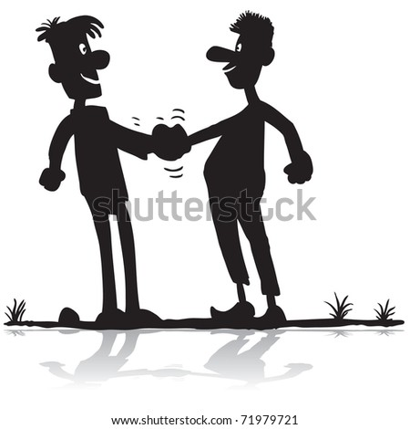 Cartoon silhouette two men shaking hands