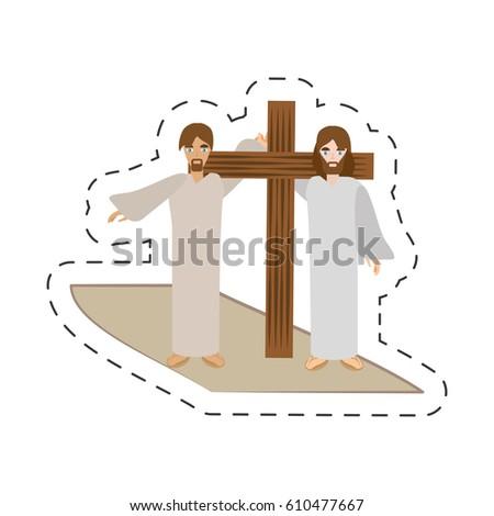 cartoon simon help jesus carry
