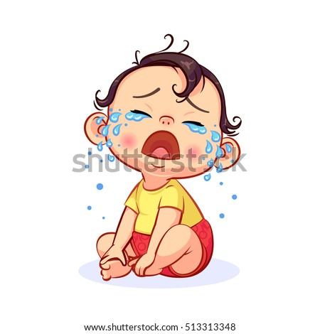 cartoon sitting and crying