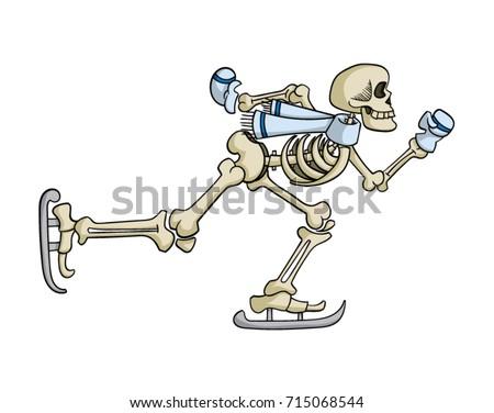 cartoon skeleton ice skating