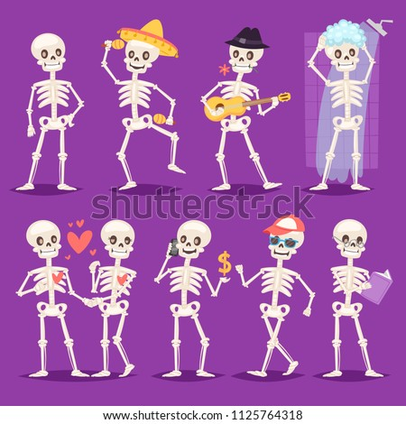 Cartoon skeleton vector bony character mexican musician or lovely couple with skull and human bones illustration skeletal set of dead people dancing or bathing isolated on background stock photo