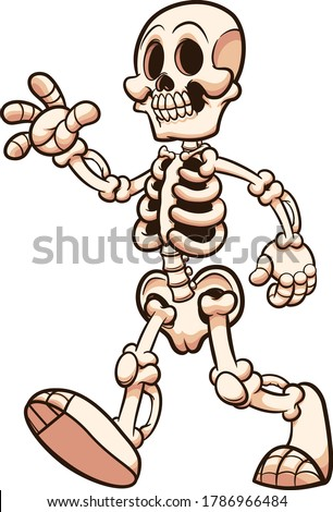 Cartoon skeleton walking and waving. Vector clip art illustration with simple gradients. Some elements on separate layers.