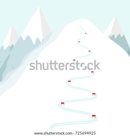 Cartoon ski track on snow mountain. Skiing trace with flags.  Flat vector illustration. Foto stock ©