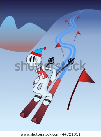 Cartoon skier slides down from the mountain.