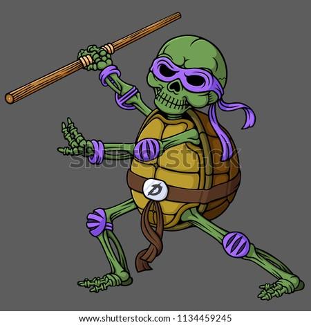 cartoon skull of ninja turtle